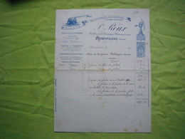 Facture 1905 Ferblantier Pompier Mécanicien P. Roux Remoulins Gard - 1900 – 1949