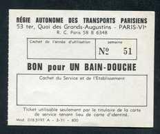 """Jeton-papier RATP De Nécessité Vierge """"Bon Pour Un Bain-Douche"""" Métro De Paris - Années 70 - Monetary / Of Necessity"""