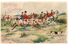 BIRTHDAY GREETING HUNTING SCENE ART COLOUR POSTCARD  ARTIST SIGNED J.A. STEWART - Other Illustrators