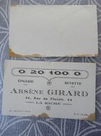 37 LA RICHE CARTE DE VISITE EPICERIE ARSENE GIRARD 64 RUE DU PLESSIS + ENVELOPPE - Visiting Cards