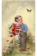 LITTLE BOY WITH FLOWERS OLD ART COLOUR POSTCARD  ARTIST SIGNED ? - Other Illustrators