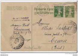 103 - 42 - Entier Postal Envoyé De Lausanne Au Brésil 1915 - Enteros Postales