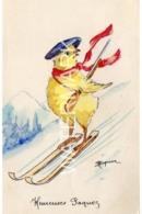 LITTLE CHICK SKIING OLD ART COLOUR POSTCARD  ARTIST SIGNED ? - Other Illustrators