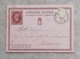 Cartolina Postale Con Risposta Pagata - Quindici Centesimi 01/01/1874 - 1861-78 Vittorio Emanuele II