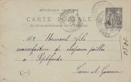 Yvert 89 CP5 Date 940 Entier écrite De St Guen Mur Cachet A Boite Rurale à Septfonds Tarn Et Garonne - Entiers Postaux