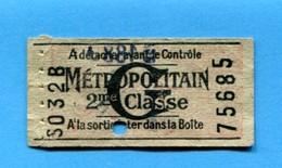 T - Ticket De Métro Paris - 2° Classe - Lettre G - Europe