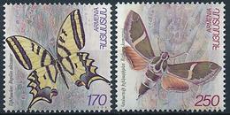 Mi 337-38 MNH ** Lepidoptera, Butterfly, Moth / Swallowtail, Papilio Alexanor, Madder Hawkmoth, Rethera Komarovi - Armenia