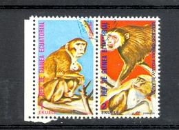 Timbre Oblitéré - Guinée Equatoriale / Guinéa - Singes  / Monkeys - Paire - Rhesus, Macaco Caras Roja Y Blanca - (8) - Equatoriaal Guinea