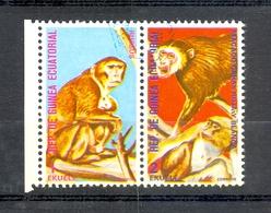 Timbre Oblitéré - Guinée Equatoriale / Guinéa - Singes  / Monkeys - Paire - Rhesus, Macaco Caras Roja Y Blanca - (9) - Equatoriaal Guinea