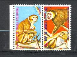 Timbre Oblitéré - Guinée Equatoriale / Guinéa - Singes  / Monkeys - Paire - Rhesus, Macaco Caras Roja Y Blanca - (10) - Equatoriaal Guinea