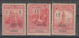 INDIA CE AFINSA IMPOSTO POSTAL PORTEADO 1/3 - SÉRIE NOVA COM CHARNEIRA - India Portuguesa