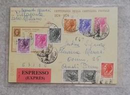 Centenario Della Cartolina Postale 1874-1974 Espresso Da Milano Per Ascoli Piceno 14/01/1974 - Stamped Stationery