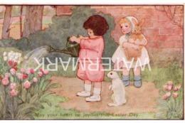 JOYOUS EASTER DAY OLD ART COLOUR POSTCARD  ARTIST SIGNED K. CHILDREN RABBITS - Other Illustrators