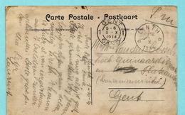 """Zichtkaart Lint, Relais LINTH 01/10/1914 Naar GENT + Tekst : """" 'T KANON IS HIER AL VAN EERGISTEREN AAN 'T BULDEREN ... - Other Covers"""