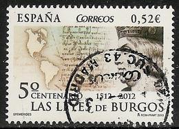 2013-ED. 4780 - SERIE COMPLETA- 5º CENT. DE LAS LEYES DE BURGOS-USADO - 1931-Oggi: 2. Rep. - ... Juan Carlos I