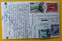 10136 - Timbres Surchargés UPU 1874-1949 & Habilitada S.o 0.25 Lima 05.06.1951 Sur Carte Pour Lausanne - Peru