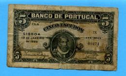 "T - Billet ""Banco De Portugal"" De 1925 - 5 Escudos - Portugal"