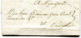 Belgique Precurseur Griffe Noire FURNES-Bruges 1752 Taxée 3 Avec Texte - 1714-1794 (Pays-Bas Autrichiens)