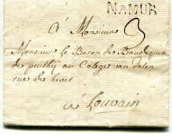 Belgique Precurseur Griffe Noire NAMUR-Louvain 1766 Taxée 3 Avec Texte Datée De Moustier - 1714-1794 (Pays-Bas Autrichiens)