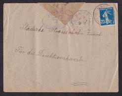 France: Cover Alsace To Switzerland, 1916, 1 Stamp, Semeuse, Censored, Small Censor Label & Cancel, War (minor Damage) - Francia