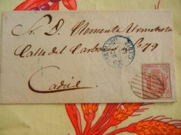 LETTRE ESPAGNE 1854 - Escudo De España. 4 Cuartos. OBLITERATION BARRES + RONDE SAN FERNANDO - Espagne