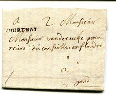 Belgique Precurseur Griffe Noire COURTRAY-Gand 1744 Taxée 2 Superbe Avec Texte Datée Haerelbeke - 1714-1794 (Pays-Bas Autrichiens)
