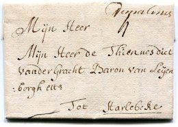 """Belgique Precurseur Man. """"de Malines""""-Harelbeke 1730 Taxée 4 Superbe Avec Texte - 1714-1794 (Pays-Bas Autrichiens)"""