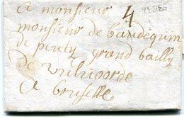 Belgique Precurseur Griffe Noire YPRES-au Bailly De Vilvoorde A BXL1745 Taxée 4 Superbe Avec Texte Datée De Gontgom - 1714-1794 (Pays-Bas Autrichiens)