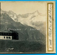 Suisse Valais Zermatt * Hôtel Du Riffelhorn, Glacier Trift - Photo Stéréoscopique Braun Vers 1865 - Voir Scans - Stereo-Photographie