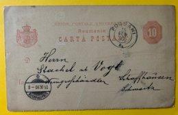 10143 - Carte Josef Schwarz Weinagentur Focsani 18.09.1890 Pour Schaffhausen - Postal Stationery