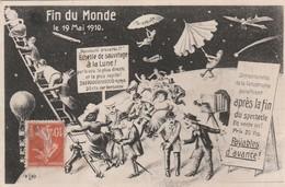 CPA:FIN DU MONDE MAI 1910 ÉCHELLE DE SAUVETAGE À LA LUNE PARACHUTE PHOTOGRAPHE AVION - Cartes Postales