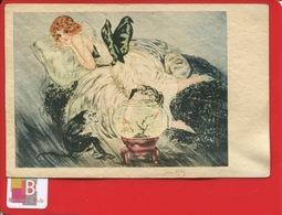 Très Belle Carte, Style Art Déco, Femme , Illustrateur Signature Jean Gilles  Singe Aquarium Poisson Rouge E .K  &Cie - Other Illustrators