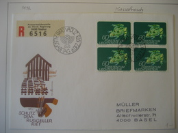 Liechtenstein- FDC Recobeleg  Mit Viererblock Mi.Nr. 593 - Briefe U. Dokumente