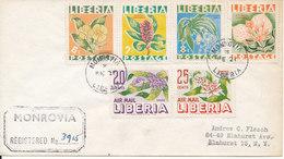 Liberia Registered Cover Sent To USA Monrovia 21-2-1956 With A Set Of 6 Flowers - Liberia