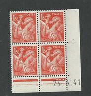 Paire De Coin Daté Iris N° 435 ** Du 24 3 1941 Planche C+D - 1940-1949
