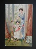 Petite Fille Portant Ombrelle Et Fleur Avec Femme, Poule Et Poussins  - Gaufrée - Série 3393 - Enfants