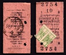 Railway Train Travel Insurance REVENUE Tax Stamp On MÁV TICKET Vignette Label - 40 Fill 1949 Hungary Keleti PU - Revenue Stamps