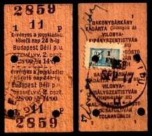 Railway Train Travel Insurance REVENUE Tax Stamp On MÁV TICKET Vignette Label - 1 Ft 1958 Hungary Déli PU - Revenue Stamps
