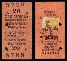 Railway Train Travel Insurance REVENUE Tax Stamp On MÁV TICKET Vignette Label - 40 Fill Hungary MERNYE - Revenue Stamps