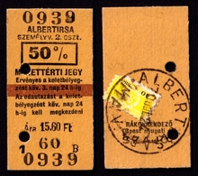 Railway Train Travel Insurance REVENUE Tax Stamp On MÁV TICKET Vignette Label - 40 Fill 1970 Hungary Albertirsa - Revenue Stamps