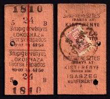 Railway Train Travel Insurance REVENUE Tax Stamp On MÁV TICKET Vignette Label - 60 Fill 1956 Hungary Lökösháza - Revenue Stamps