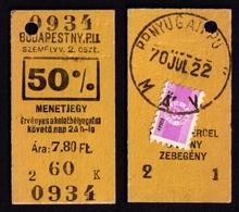 Railway Train Travel Insurance REVENUE Tax Stamp On MÁV TICKET Vignette Label - 20 Fill 1970 Hungary Zebegény - Revenue Stamps
