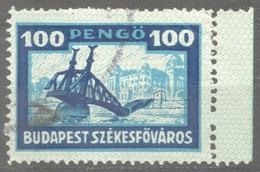 Liberty BRIDGE Ruines Danube River - HOTEL Gellért - 1946 Hungary BUDAPEST City Local Revenue Tax Stamp Overprint - Bridges