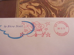 Enveloppe Peu Courante : Ema De 1972  - 33 - Libourne - Le Pere Noel - Avion - Etoiles - Gironde - 0,50 Franc - Postmark Collection (Covers)