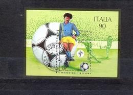 LAOS - SOCCER CHAMPIONSHIP - ITALIA 1990. -  MI.NO.BL 130 - CV - 2 € - Copa Mundial