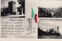 TRIESTE-SALUTI DA TRIESTE ITALIANA-3 IMMAGINI-CARTOLINA VERA FOTOGRAFIA-NON VIAGGIATA-ANNO 155-1960 - Trieste