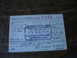 Beuzeville Fernand Pigot 1937 Carte Q S L Qsl Radio Amateur F3ig - Radio Amateur