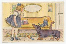 Animaux.carte Fantaisie.petite Fille Dans Son Salon.chien Teckel, Poupée, - Chiens