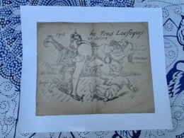 GRAVURE érotique Mettant En Scène Le Poilu Et Le Kaiser Format 16 X 20 Cm Entoilées 25 X 21 époque  14 18 WWI - 1914-18