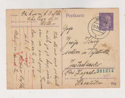 SLOVENIA,1943 GERMANY WW II,WOLLAN VELENJE Censored Postal Stationery To Croatia - Slovenia